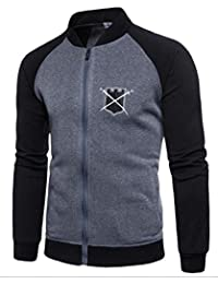chenshiba-JP メンズcolorblock刺繍アスレチックススウェットシャツの着用ボンバージャケット