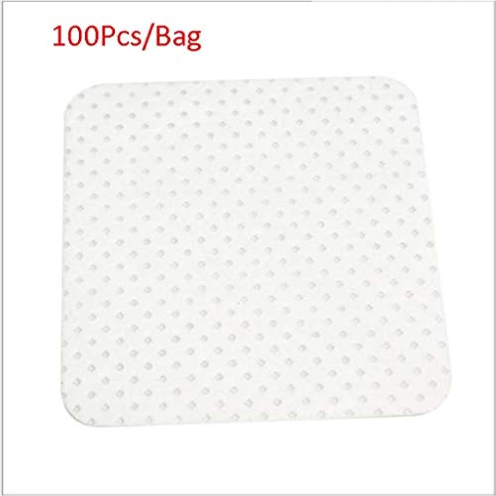 ハードウェアの量注入クレンジングシート 100ピース/バッグ使い捨てまつげエクステンションのり取りコットンパッドボトル口拭きパッチメイク化粧品クリーニングツール (Color : White, サイズ : 5*5cm)