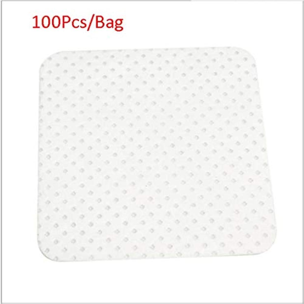 反射ストレスの多いヒロインクレンジングシート 100ピース/バッグ使い捨てまつげエクステンションのり取りコットンパッドボトル口拭きパッチメイク化粧品クリーニングツール (Color : White, サイズ : 5*5cm)