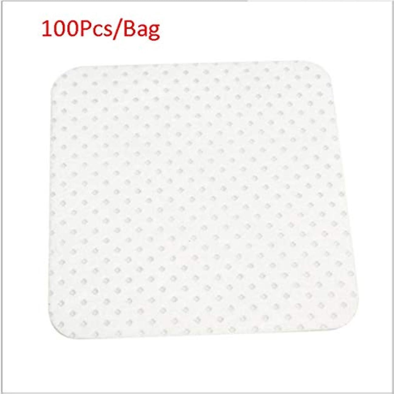 一致別の少ないクレンジングシート 100ピース/バッグ使い捨てまつげエクステンションのり取りコットンパッドボトル口拭きパッチメイク化粧品クリーニングツール (Color : White, サイズ : 5*5cm)