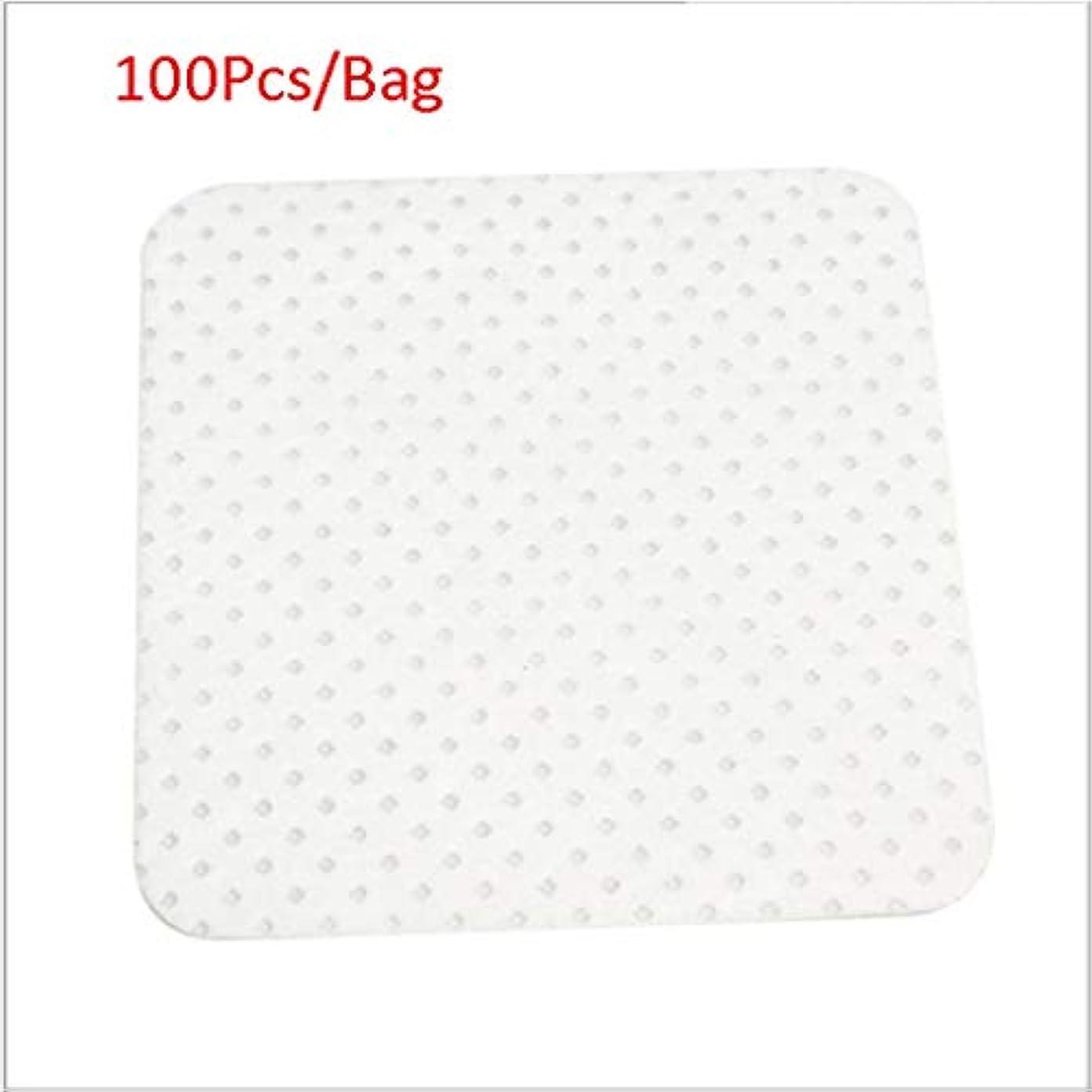 縁石広々快いクレンジングシート 100ピース/バッグ使い捨てまつげエクステンションのり取りコットンパッドボトル口拭きパッチメイク化粧品クリーニングツール (Color : White, サイズ : 5*5cm)
