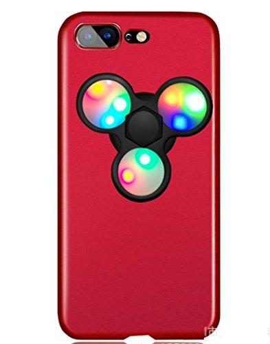 日本未発売 SPRING COME® [LEDハンドスピナー付きMATPCスマホンケース」LED 光る ピカピカ フォーカス玩具 iphone 5/SE /IPhone6s iPhone6 PLUS/ iphone7 7s 軽量 ウルトラ スリム 超薄型 プラスチック メッキ 360度保護 全面的保護機能  Hand Spinner Fidget Spinner ハード バック ケース アイホン5 アイホンSE / アイフォン6s / 6アイフォン6 / 6s / 7/7プラス カバー スマホケース スマホカバー 超薄 軽量 プラスチック製 アイホン6s プラス カバー アイフォーン (アイホン6/6S兼用, 赤x黒) [並行輸入品]