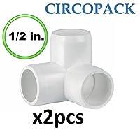 """circopack 1/ 2"""" PVC 3ウェイエルボ継手コネクタ( 2ピース)"""