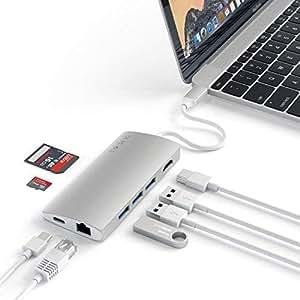 Satechi V2 マルチ USB ハブ Type-C パススルー充電 4K HDMI出力 カードリーダー USB3.0ポートx3 (シルバー)
