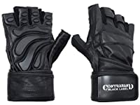 (Medium, Black/Black) - Contraband Black Label 5990 Premium Leather Wrist-Lock Gloves w/ Rubber Xtreme Traction Pads
