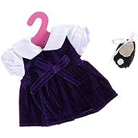 Lovoski  人形 かわいい ワンピース ドレス サテン ダンスシューズ セット 18インチアメリカンガールドール適用 全2色  - 紫