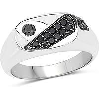 0.31カラット純正ブラックダイヤモンド。925スターリングシルバーリング ブラック