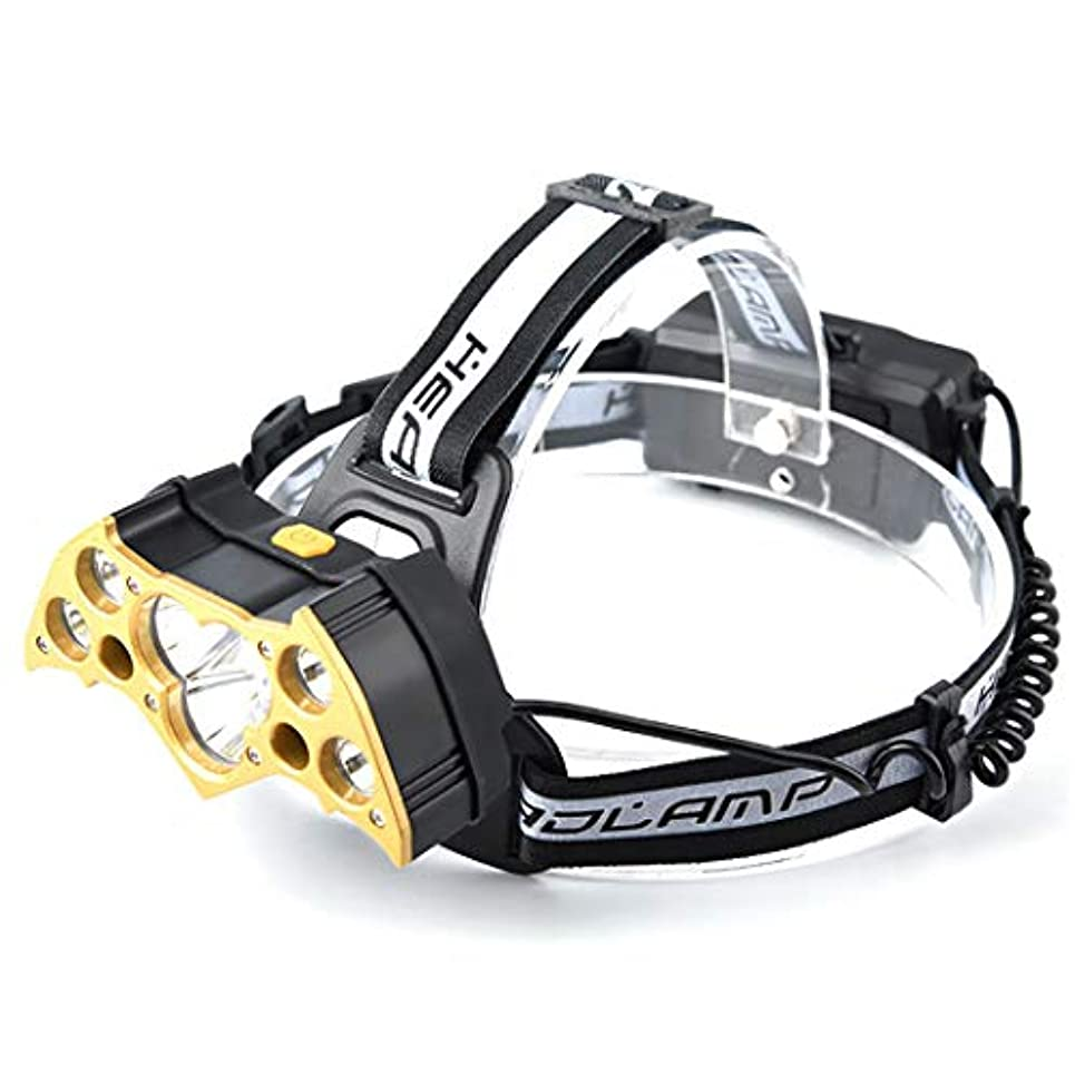 HSBAIS LED ヘッドライト、白と赤の灯防水 USB 充電式 高輝度 軽量 ヘッドランプ ヘルメットライト,gold