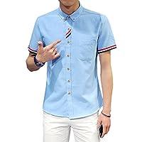 [meryueru(メリュエル)] トリコロール ポイント カジュアル ボタンダウン シャツ 半袖 ファッション 春 夏 秋 メンズ