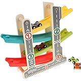 B Blesiya 子供 木製 車 トラック玩具 4レーヤー軌道 くるくるスロープ 4台車おもちゃ
