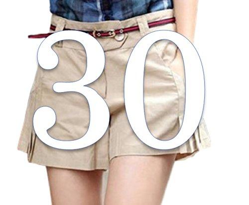 (ペプ) PEPU シンプル スリム カジュアル ショート パンツ レディース キュロット 大人 無地 短パン ホットパンツ (カーキ 30)