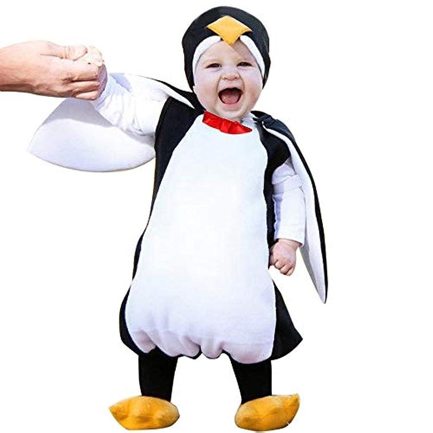 農学魅惑的な補助金Aliciga ペンギン ロンパース フットカバー 二点セット コスチューム ベビー服 ノースリーブ 赤ちゃん 子供服 キッズ 男の子 女の子 可愛い 柔らかい 動物 変装 コスプレ衣装 パーティー おもしろい ボディスーツ ハロウィン クリスマス (90, ブラック)