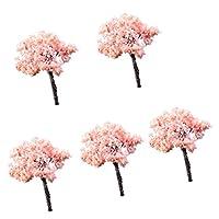 5本のミニチュア樹脂の木の置物風景ポット盆栽DIYの装飾工芸 - ツリー#5