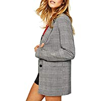 SEBOWEL Women's Check Plaid Blazers Loose Casual One Button Long Jacket Suits