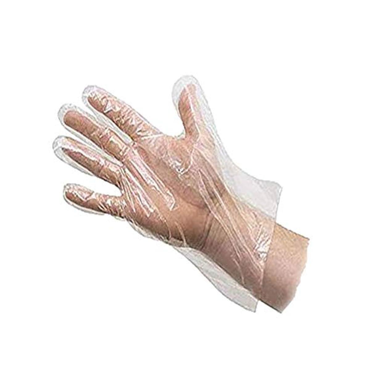辞任する添加風Outflower 使い捨て手袋 調理用 食品 プラスチック ホワイト 粉なし 食品衛生 透明 左右兼用 薄型 ビニール極薄手袋 100枚入り