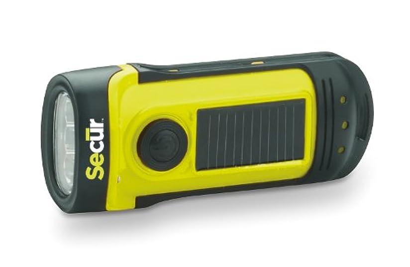 無意味混乱した手のひらSecur 手動充電式 防水性 高輝度LEDソーラーパネル搭載フラッシュライト ハンドル回転でラクに充電が可能。電池不要。 最高水深14メートルまでの耐水性。キャンプやハイキング, または非常灯にもピッタリ。