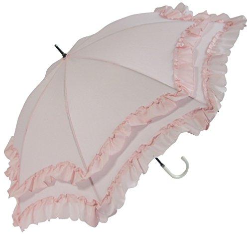 晴雨兼用 日傘 UVカット 紫外線遮蔽率90% 以上 2段フリル×ヒートカット加工 ゴシック かわいい 50cm 手開き傘 (ピンク)