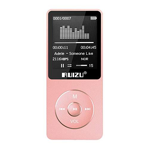 RUIZU MP3プレーヤー 超軽量 8GB-16GB内蔵 128GB 拡張可能 音楽プレーヤー 大容量 80時間 HIFI 高音質 ミュージックプレーヤー FM ラジオ ボイスレコーダー X02 (8GB ローズゴールド)