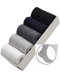 ユニーク(Unique) 靴下 メンズ ビジネス 無地 クルー丈 ミドルスタイル シンプルソックス カジュアル 綿 5足セット 5色
