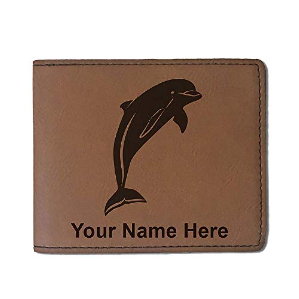 急流ピーク素晴らしい良い多くのフェイクレザー財布 – イルカ – カスタマイズ彫刻Included (ダークブラウン)