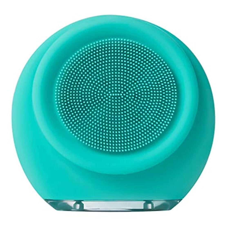 想像力豊かな科学者乳白色充電式シリコーンクレンジング器、電気超音波美容機器フェイス毛穴クリーナーフロントとバックブラシヘッド3ブロックの調整7防水 (Color : A)