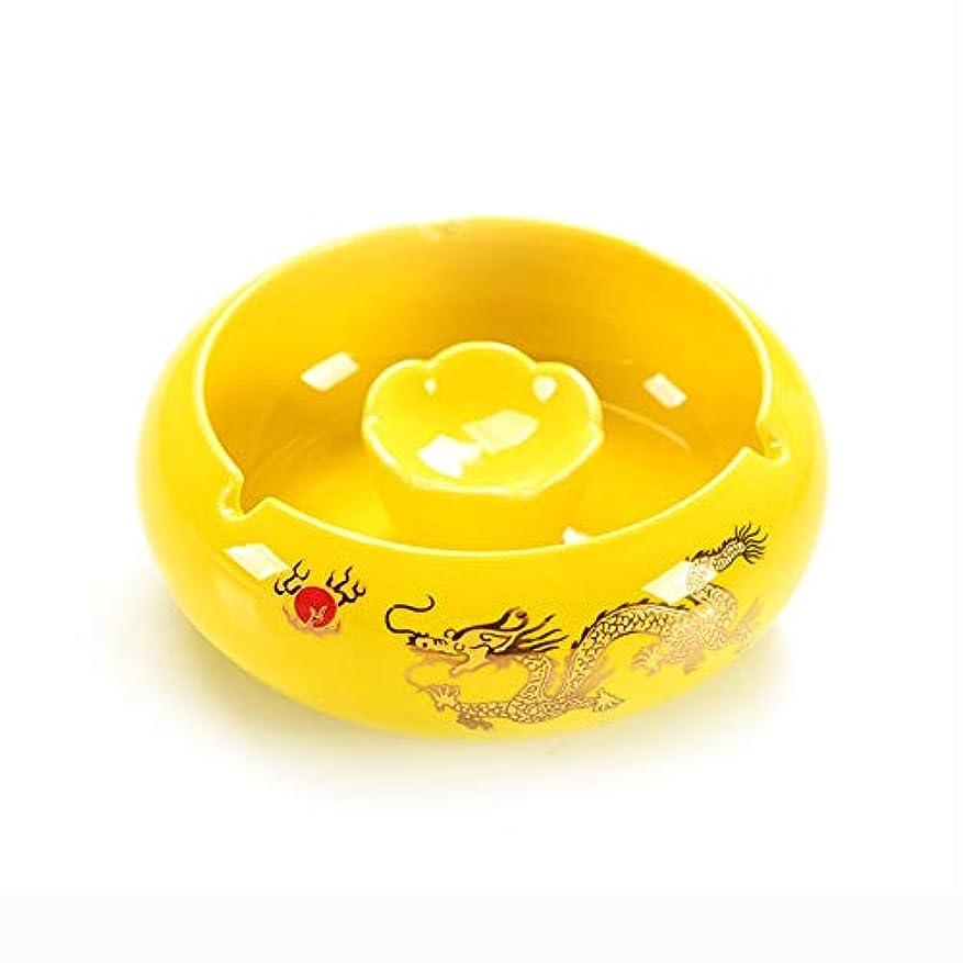 設置ヘルメット虚弱屋内か屋外の使用のための灰皿、総本店の装飾のためのデスクトップの喫煙灰皿 (色 : 黄)