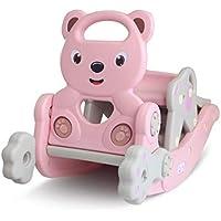 赤ちゃんロッキング乗馬 多機能 ロッキングチェア 滑り台 輪投げ バスケットネット 子供用ロッキングホース おもちゃ 1-6歳適用 ピンク