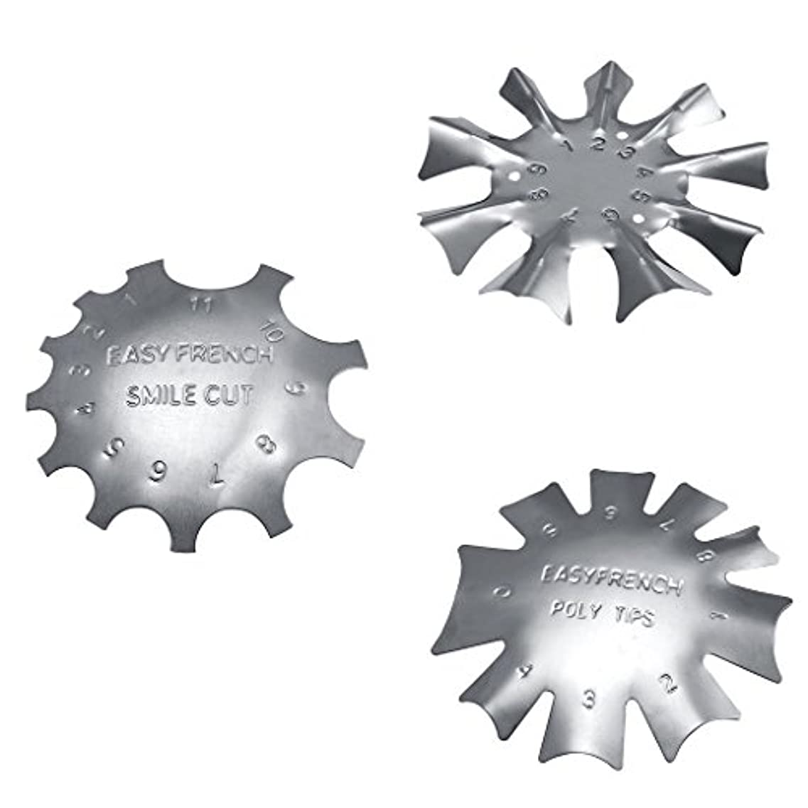 一元化するエンドウ風が強いネイルアートに適したステンレス鋼フレンチネイルトリマートリマーネイルテンプレート3枚