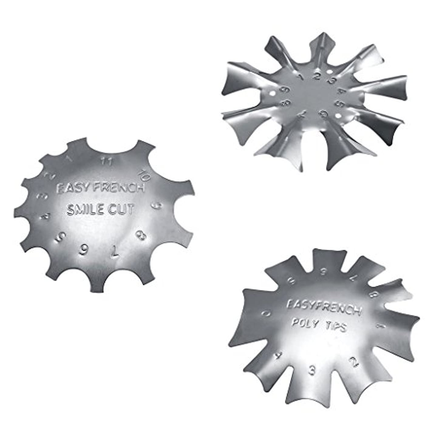 商人居心地の良い発行するネイルアートに適したステンレス鋼フレンチネイルトリマートリマーネイルテンプレート3枚