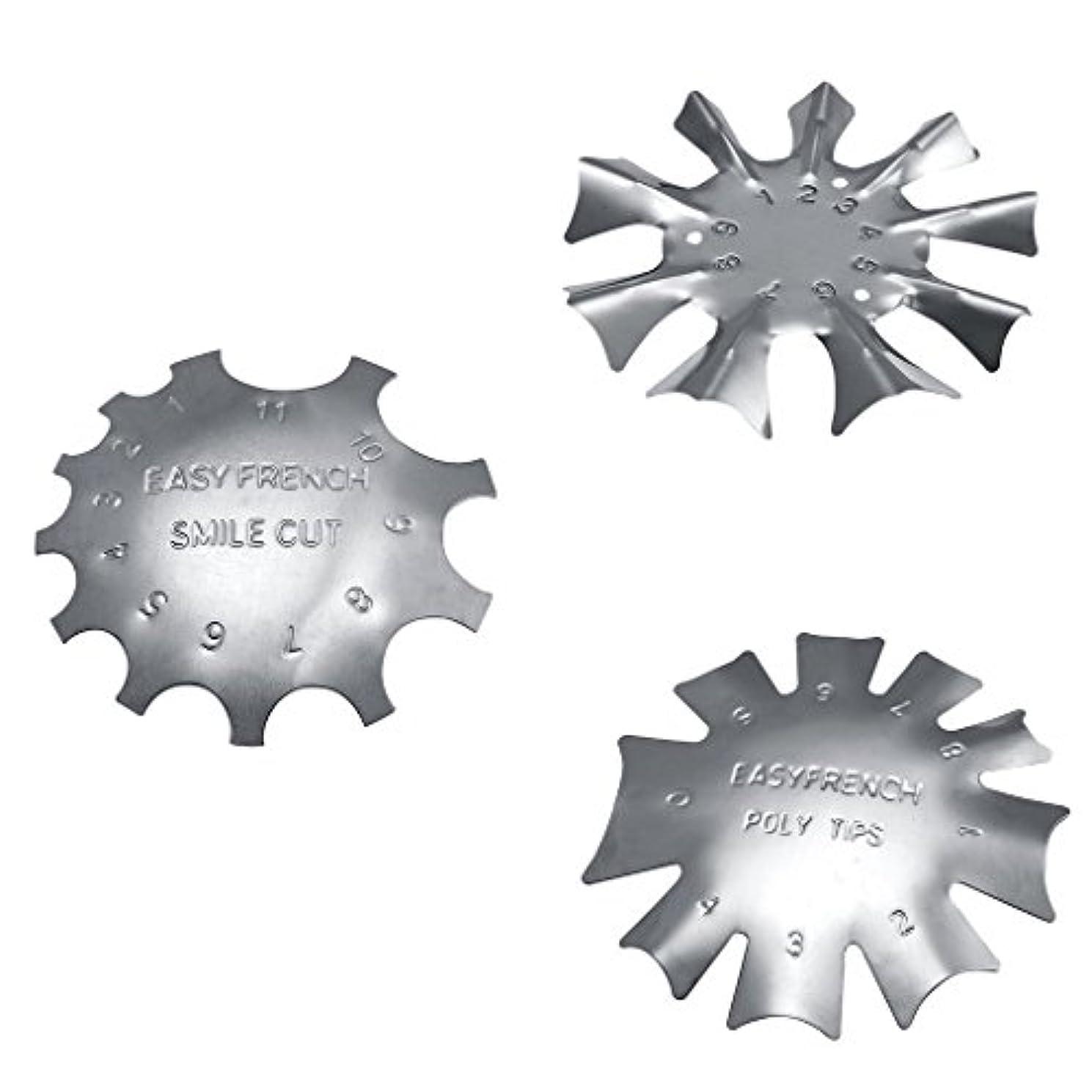 誘導がっかりするイタリックネイルアートに適したステンレス鋼フレンチネイルトリマートリマーネイルテンプレート3枚