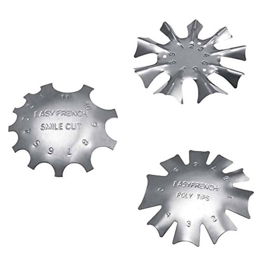 破滅的な盲目ボーナスネイルアートに適したステンレス鋼フレンチネイルトリマートリマーネイルテンプレート3枚