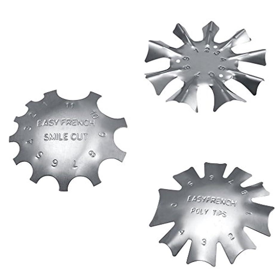 ミシン目カタログバングラデシュネイルアートに適したステンレス鋼フレンチネイルトリマートリマーネイルテンプレート3枚