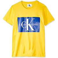 Calvin Klein Jeans Men's Monogram Box Logo Slim T-Shirt, Yellow, M