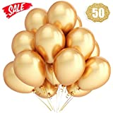 Balloome Gold Balloons Chrome Shiny Metallic Latex 12 Inch Thicken Balloons 50 Pack for Wedding Party Baby Shower Christmas Birthday Carnival Party Decoration Supplies