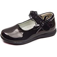 Naisidier Kids Mary Jane Shoes Leather Butterfly Breathable School Court Shoes with Hook and Loop Closure for Party and Perform