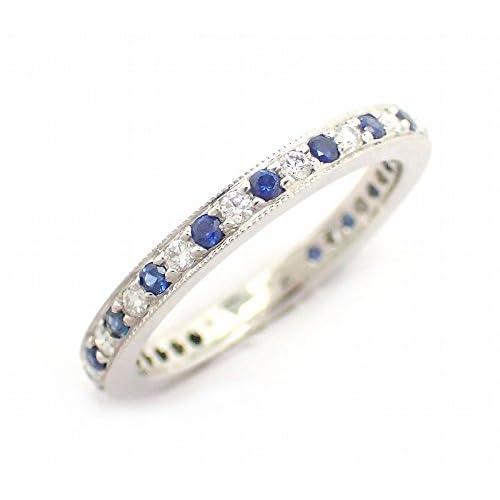 [ティファニー] TIFFANY&Co. フルエタニティ リング 指輪 Pt950 プラチナ ダイヤ サファイヤ #10 [中古]