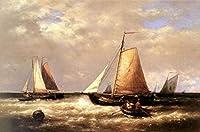 手描き-キャンバスの油絵 - Return Of The Fishing Fleet Abraham Hulk Snr 船 シービューペインティング RSSP2 芸術 作品 洋画 -サイズ07
