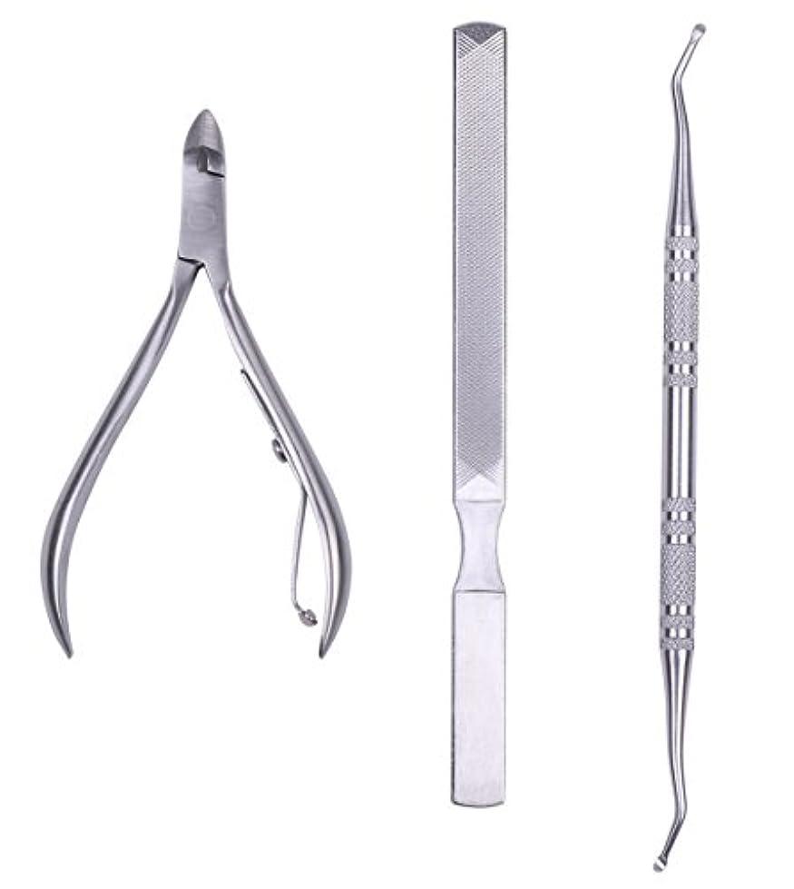 誤って勢い松の木巻き爪 お手入れ 3点セット ニッパー 爪切り / フット ゾンデ / 爪やすり つめきり ネイル 変形爪