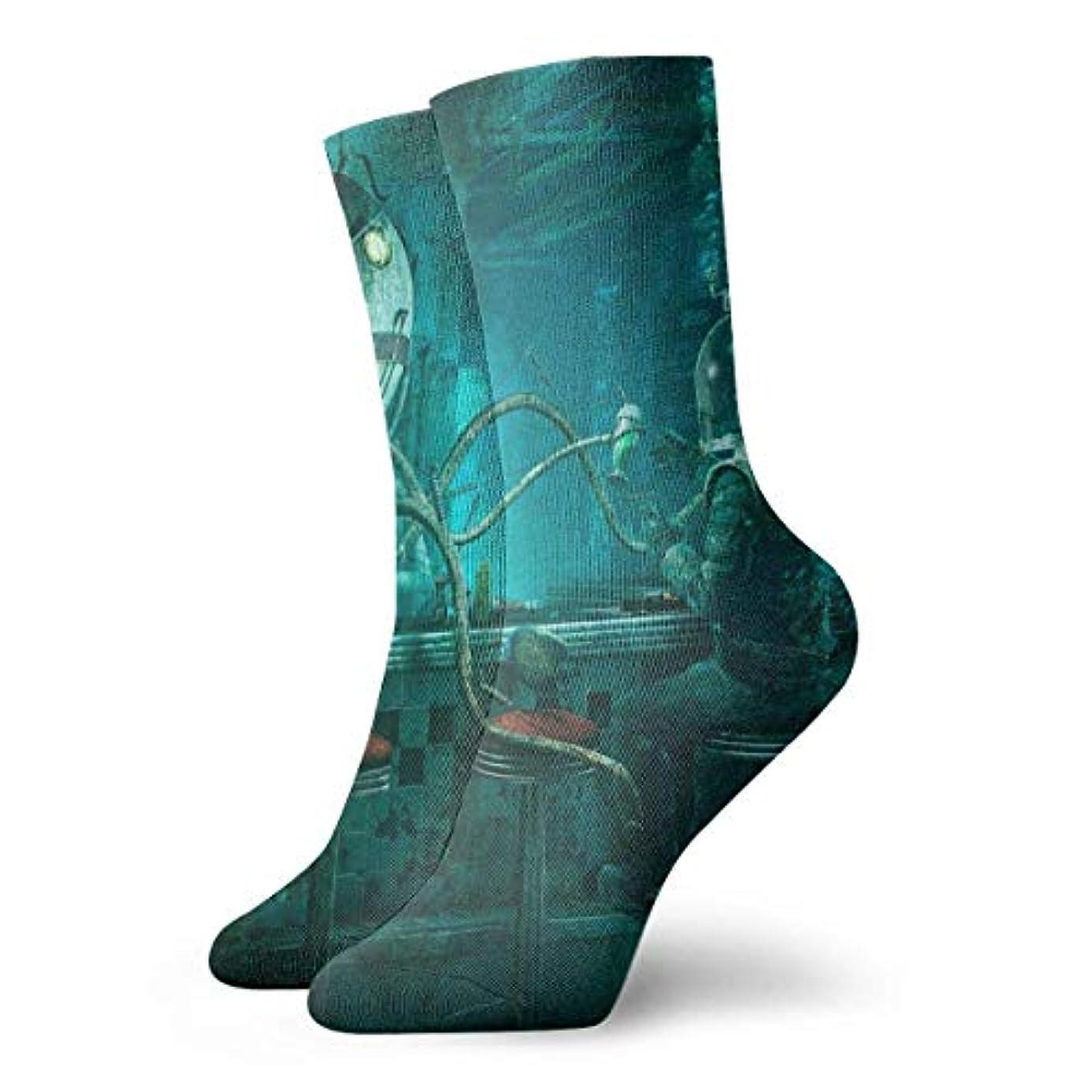 決定的ストライププレミアムクルクルレディーススチームパンクタコビデオゲームソフトクリスマス膝ハイスストッキングスリッパソックス、クリスマス楽しいカラフルな靴下