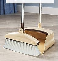 ほうき ちりとり 掃除セット 立つほうき 柔らかい毛ほうき 防風式 180度回転するほうき 室内 玄関 ホーム 美容室 ショップ最適 業務用 清掃 用品 髪の毛 掃除簡単 (ブラウン)