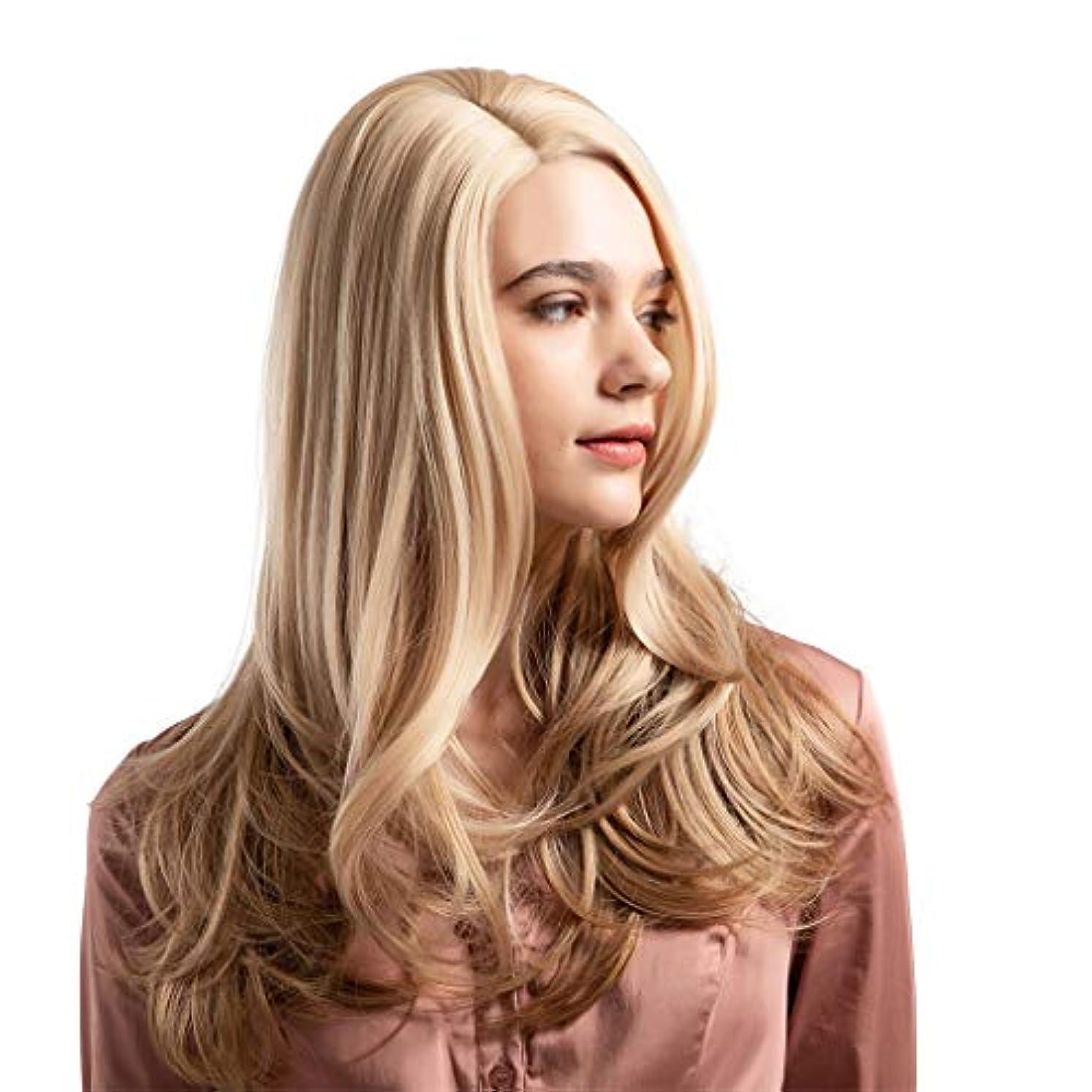落ち着いてグッゲンハイム美術館封筒ウィッグ女性黄金の大きな波状の巻き毛の高温シルクウィッグ22インチ