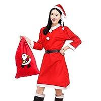 ゴシレ Gosear 女性の女性のクリスマスロングスリーブファンシーコスチューム服のドレスとサンタの帽子のバッグセット