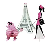 (3) - Creative Converting 265584 3 Piece Party in Paris Centrepiece Set, Pink/Black (3-Pack)