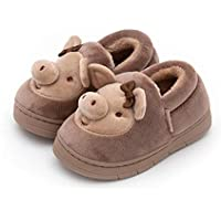 Children's Cotton Slippers, Cute Cartoon Animal Pig Slippers, Non Slip Slippers with Sole TPR Material,Brass,23/24