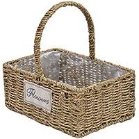 OUNONA 花バスケット 竹かご 洗濯バッグ 小物入れ 織花 自然籐 ハンドル付き