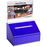 Source One Heavy Duty Donation/Ballot Box with Lock and Sign Holder (1 Pack, Blue)