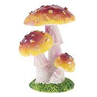 P Prettyia かわいい キノコの彫像 園芸小道具 風景 インテリア 樹脂 全9タイプ - パープル3ヘッドA