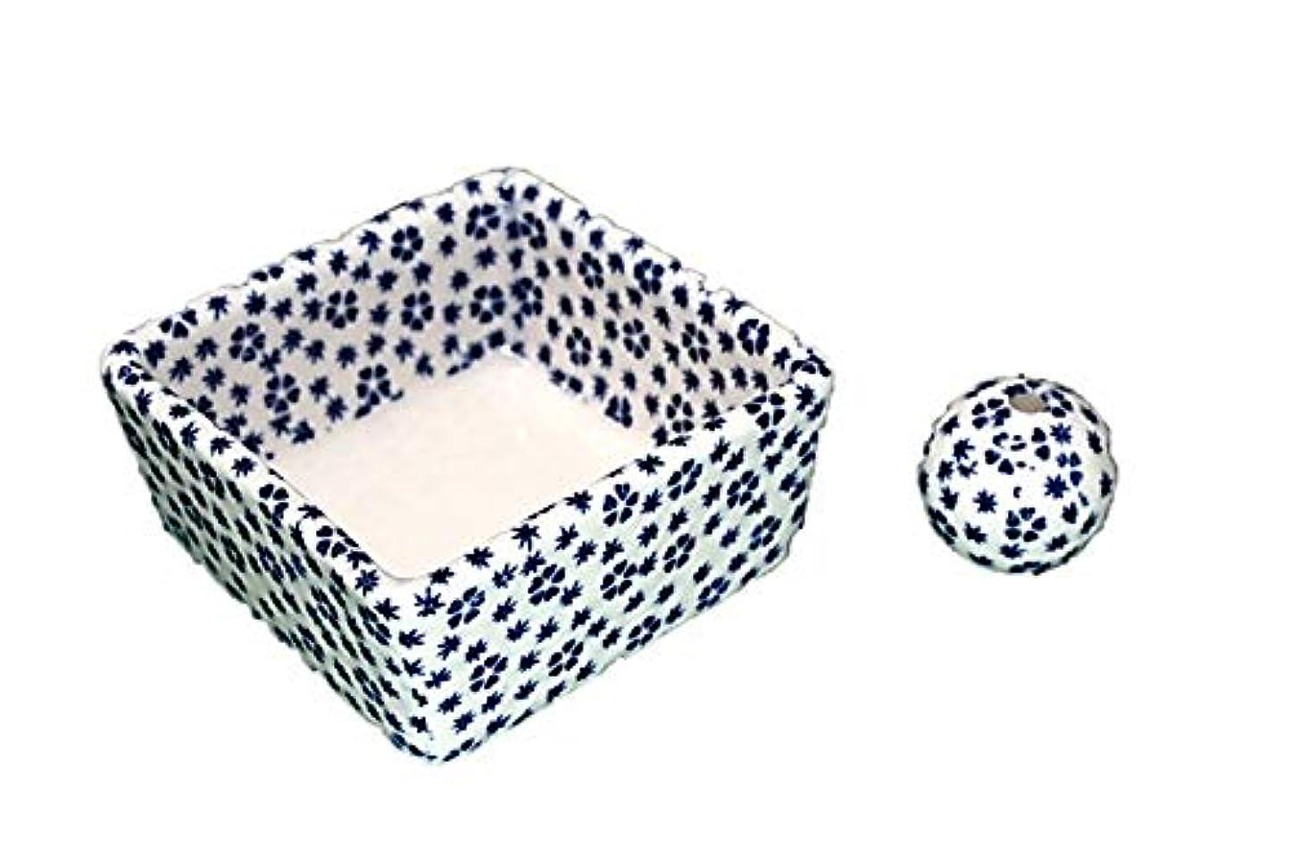 助言するパキスタンかすかな和モダン 桜小紋(青) お香立て 陶器 角鉢 製造直売品