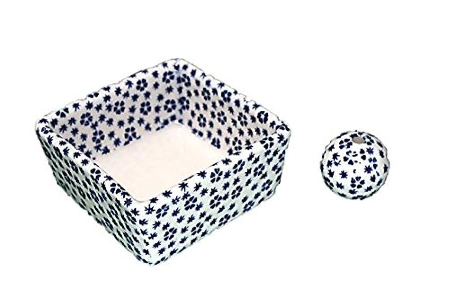 スライム流暢説教する和モダン 桜小紋(青) お香立て 陶器 角鉢 製造直売品