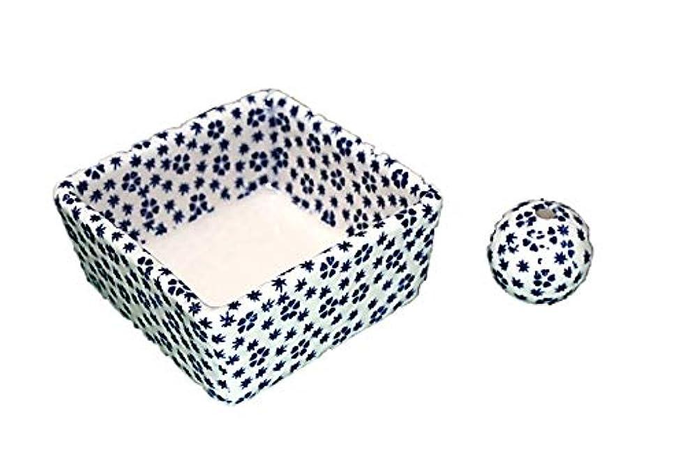 極小波紋トラフ和モダン 桜小紋(青) お香立て 陶器 角鉢 製造直売品